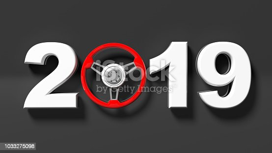 1033275118 istock photo New year 2019 with red car's steering wheel isolated on black background. 3d illustration 1033275098