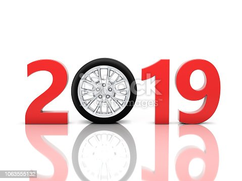 1033275118 istock photo New Year 2019 with Wheel 1063555132