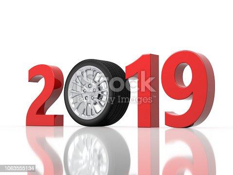 1033275118 istock photo New Year 2019 with Wheel 1063555134