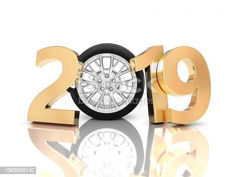 1033275118 istock photo New Year 2019 with Wheel 1063555142