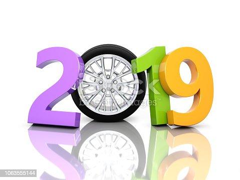 1033275118 istock photo New Year 2019 with Wheel 1063555144