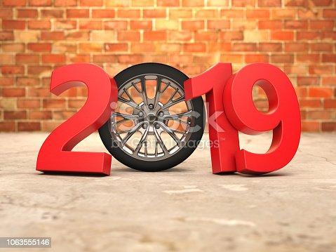 1033275118 istock photo New Year 2019 with Wheel 1063555146