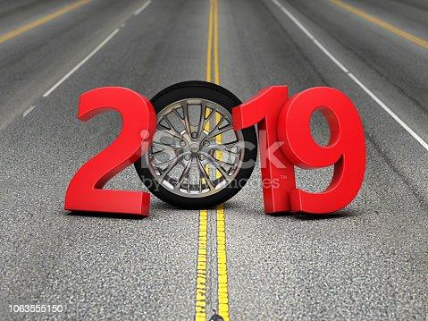 1033275118 istock photo New Year 2019 with Wheel 1063555150