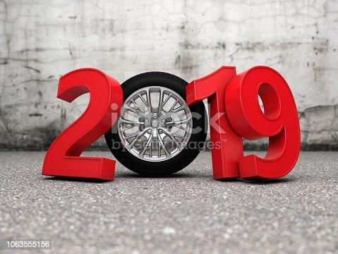 1033275118 istock photo New Year 2019 with Wheel 1063555156