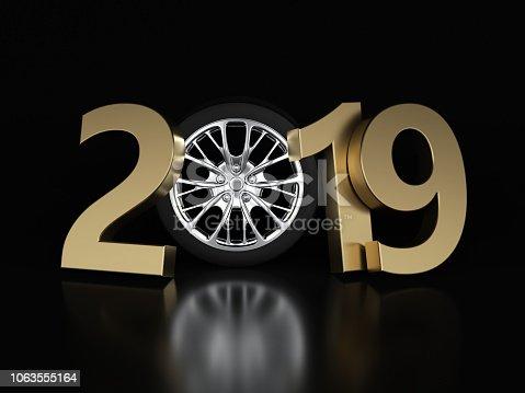 1033275118 istock photo New Year 2019 with Wheel 1063555164