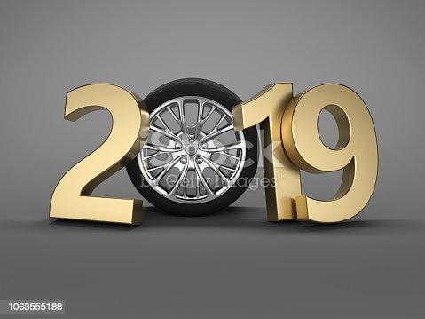 1033275118 istock photo New Year 2019 with Wheel 1063555188