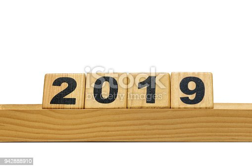 1054929988 istock photo New Year 2019 with wood block isolated on white background 942888910