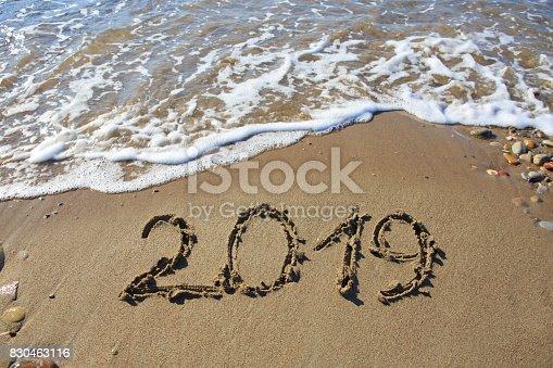 istock New year 2019 written in sand 830463116