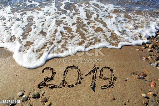istock New year 2019 written in sand 831712146