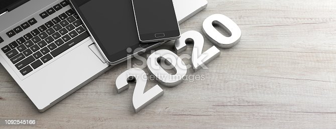 istock New year 2020 and electronic devices, wooden background, banner, copy space. 3d illustration 1092545166