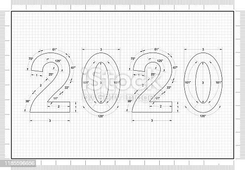 istock New Year 2020 blueprint - background 1185596656