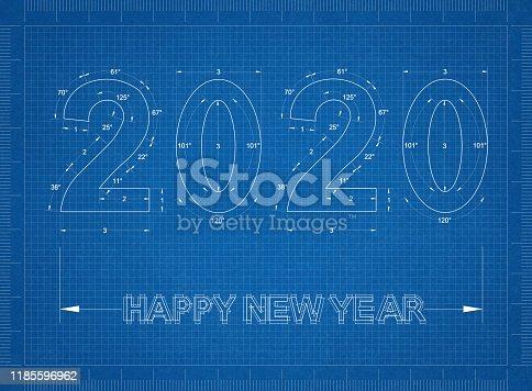 istock New Year 2020 blueprint - background 1185596962