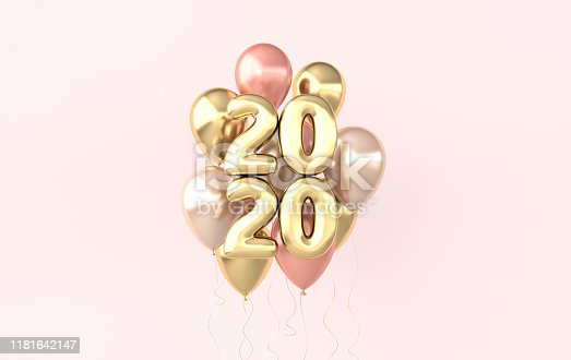 istock New year 2020 celebration background. Golden numerals 2020, floating glossy balloons. Realistic illustration for New Year's and Christmas banners. 3d render 1181642147