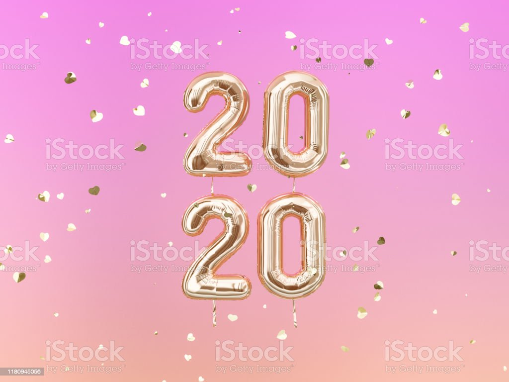 New year 2020 celebration. Gold foil balloons letters 2020 and heart...