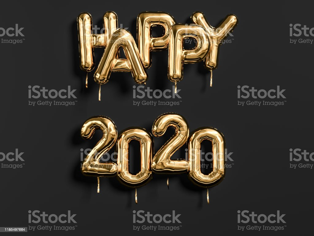 New year 2020 celebration. Gold foil balloons letters Happy 2020 on...