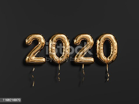 istock New year 2020 celebration. Gold foil balloons numeral 2019 and on black wall background 1168216970
