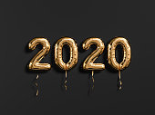 New year 2020 celebration. Gold foil balloons numeral 2019 and on black wall background. 3D rendering