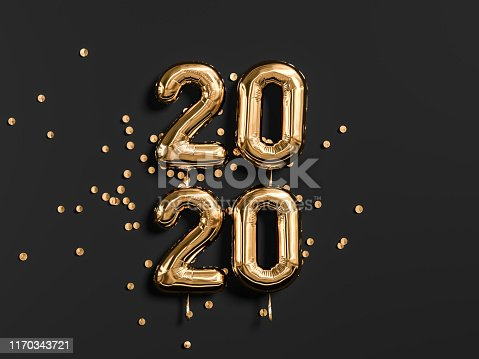 istock New year 2020 celebration. Gold foil balloons numeral 2019 and on black wall background. 3D rendering 1170343721