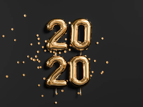 neujahrsfeier 2020. goldfolie ballons zähler 2019 und auf schwarzem wandhintergrund. 3d-rendering - 2020 stock-fotos und bilder