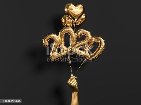 New year 2020 celebration. Gold foil balloons numeral 2019 holding hand on black wall background. 3D rendering