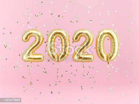 istock New year 2020 celebration. Gold foil balloons numeral 2020 1164670562