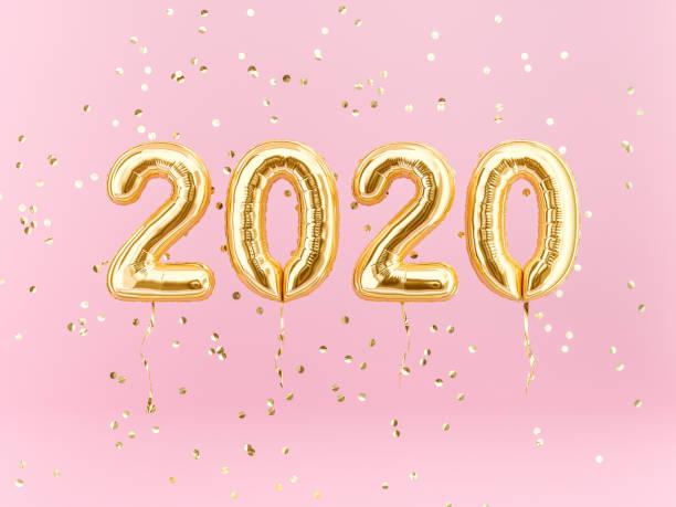 neujahrsfeier 2020. goldfolie ballons numeral 2020 - 2020 stock-fotos und bilder