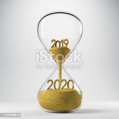 istock New Year 2020 Concept with Hourglass 1133768678