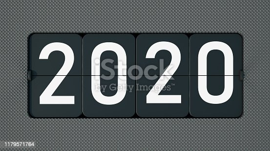 New Year 2020 Count Down Timer. 3d Render