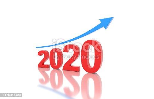1004788900istockphoto New Year 2020 Creative Design Concept with Arrow 1176054433