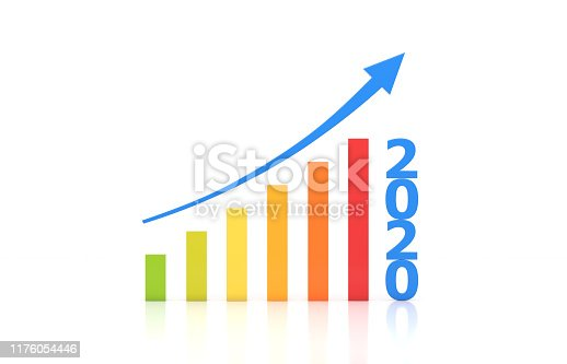 1004788900istockphoto New Year 2020 Creative Design Concept with Arrow 1176054446