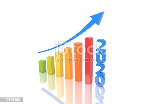 1004788900istockphoto New Year 2020 Creative Design Concept with Arrow 1176054501