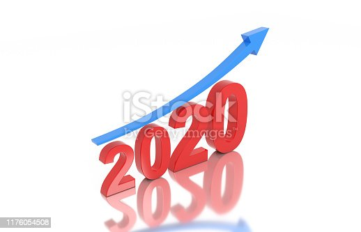 1004788900istockphoto New Year 2020 Creative Design Concept with Arrow 1176054508