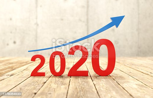 1004788900istockphoto New Year 2020 Creative Design Concept with Arrow 1176054533