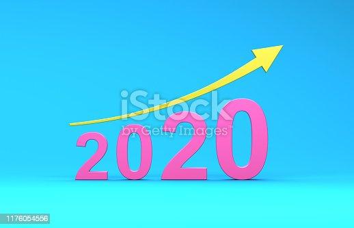 1004788900istockphoto New Year 2020 Creative Design Concept with Arrow 1176054556