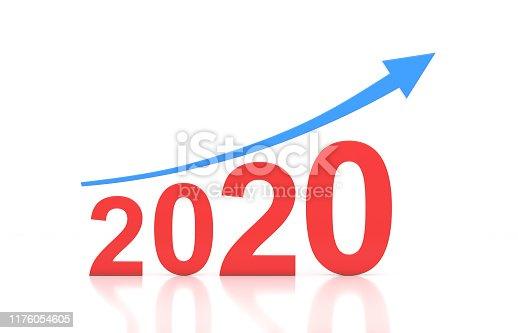 1004788900istockphoto New Year 2020 Creative Design Concept with Arrow 1176054605