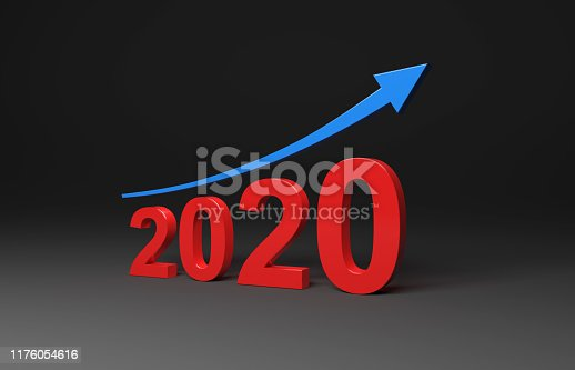 1004788900istockphoto New Year 2020 Creative Design Concept with Arrow 1176054616