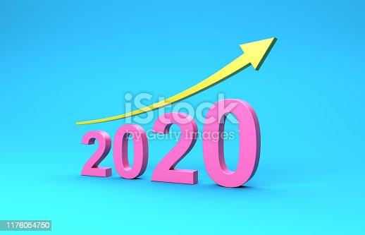 1004788900 istock photo New Year 2020 Creative Design Concept with Arrow 1176054750