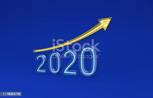 1004788900 istock photo New Year 2020 Creative Design Concept with Arrow 1176054792