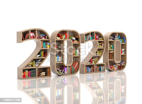 istock New Year 2020 Creative Design Concept with Book Shelf 1096341266