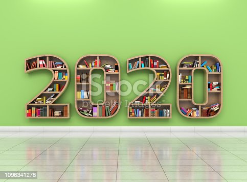 istock New Year 2020 Creative Design Concept with Book Shelf 1096341278