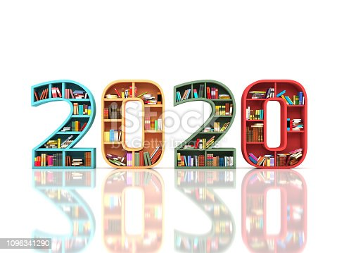 958159296istockphoto New Year 2020 Creative Design Concept with Book Shelf 1096341290
