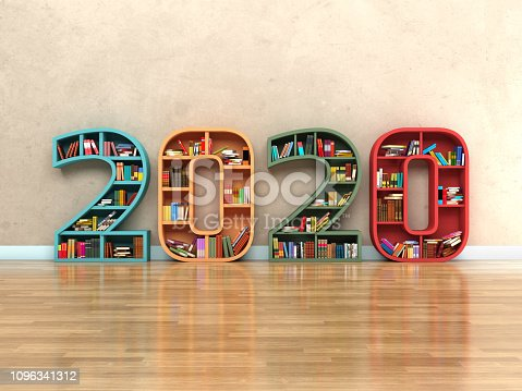 istock New Year 2020 Creative Design Concept with Book Shelf 1096341312
