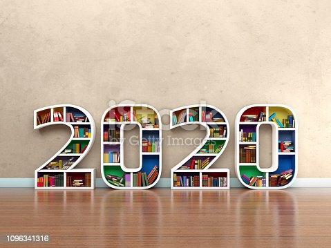 958159296istockphoto New Year 2020 Creative Design Concept with Book Shelf 1096341316