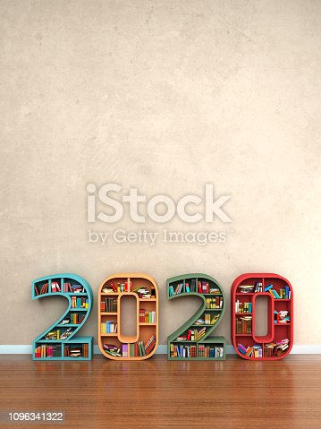 istock New Year 2020 Creative Design Concept with Book Shelf 1096341322