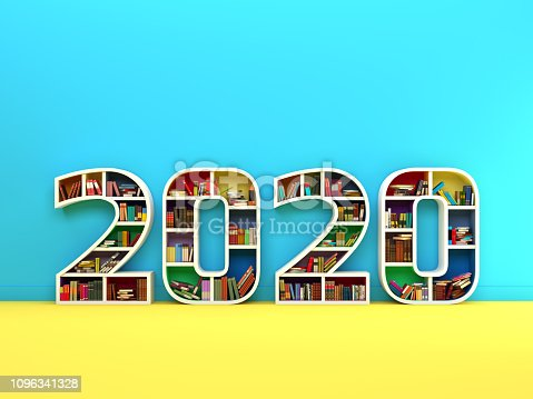 istock New Year 2020 Creative Design Concept with Book Shelf 1096341328