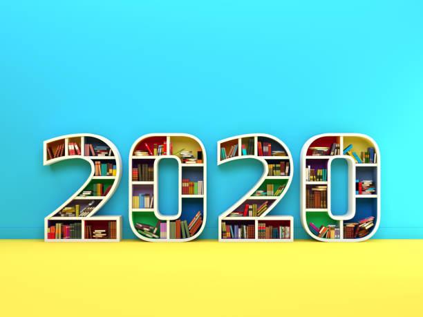 nouvel an 2020 creative design concept avec étagère - calendrier digital journée photos et images de collection