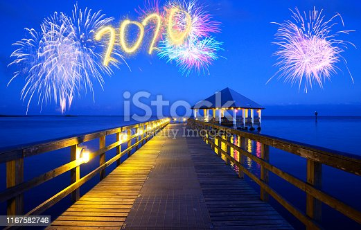 New Year 2020 fireworks over a pier in Florida, USA