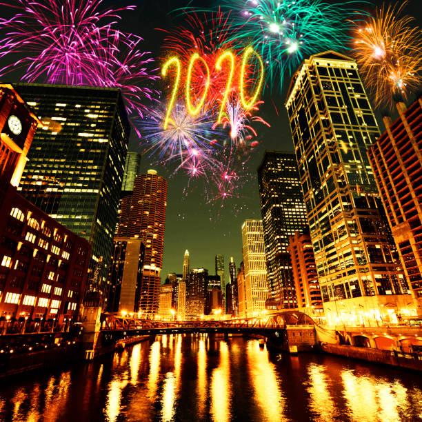 Silvester 2020 Feuerwerk über Chicago, Illinois, USA – Foto