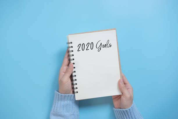 Neujahrs-2020-Zielliste mit Notizbuch auf blauem Hintergrund, flachem Laienstil. – Foto