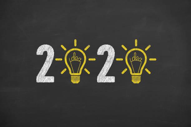 Neujahrskonzept2020 auf Blackboard-Hintergrund – Foto